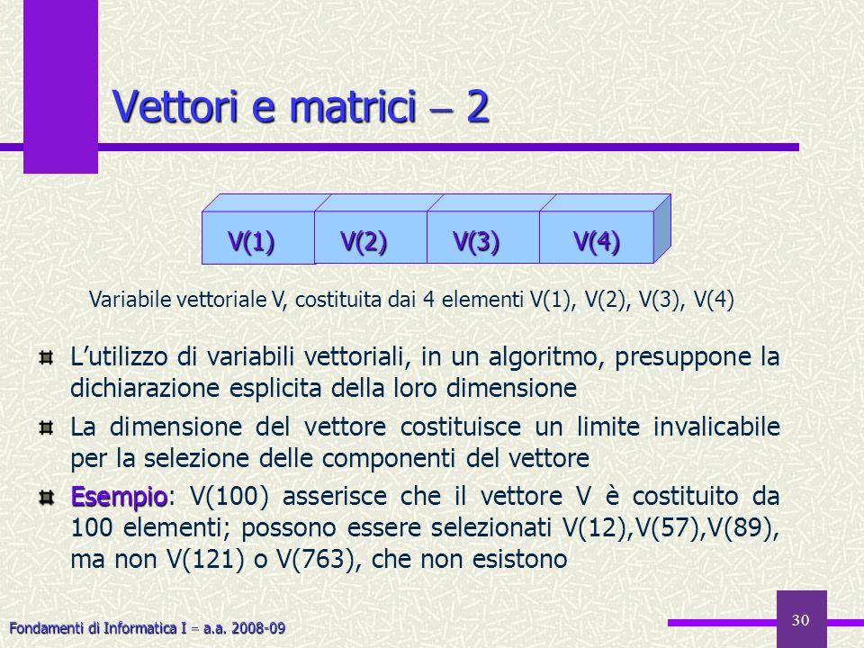 Vettori e matrici  2 V(1) V(2) V(3) V(4) Variabile vettoriale V, costituita dai 4 elementi V(1), V(2), V(3), V(4)