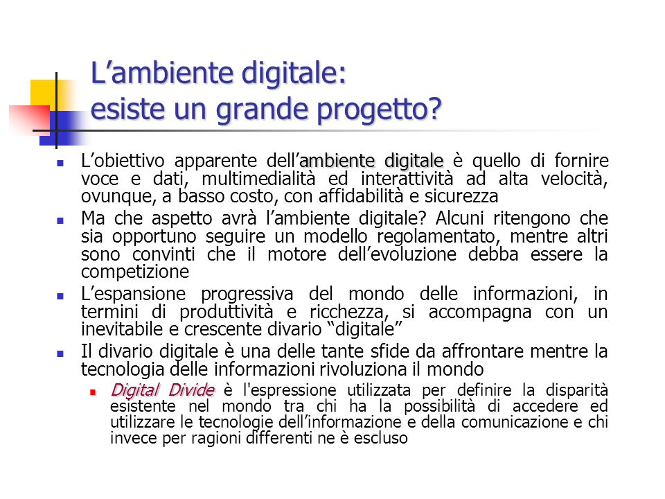 L'ambiente digitale: esiste un grande progetto