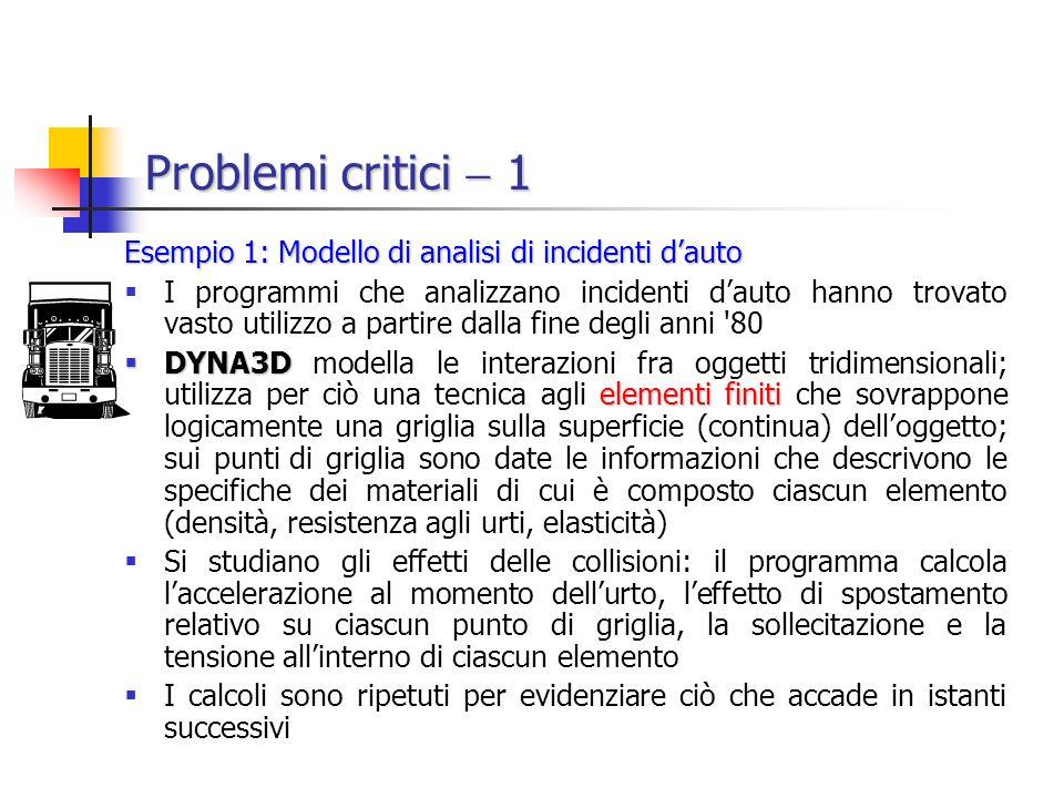 Problemi critici  1 Esempio 1: Modello di analisi di incidenti d'auto