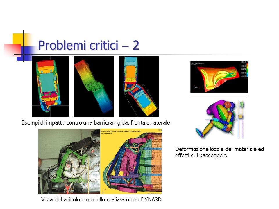 Problemi critici  2 Esempi di impatti: contro una barriera rigida, frontale, laterale. Deformazione locale del materiale ed effetti sul passeggero.