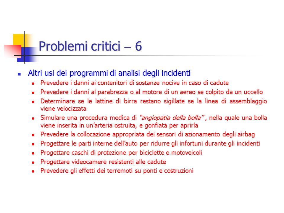 Problemi critici  6 Altri usi dei programmi di analisi degli incidenti. Prevedere i danni ai contenitori di sostanze nocive in caso di cadute.