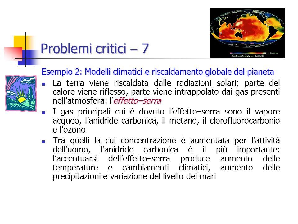 Problemi critici  7 Esempio 2: Modelli climatici e riscaldamento globale del pianeta.
