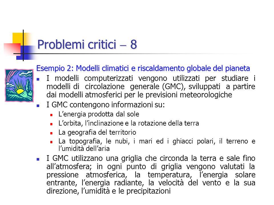 Problemi critici  8 Esempio 2: Modelli climatici e riscaldamento globale del pianeta.