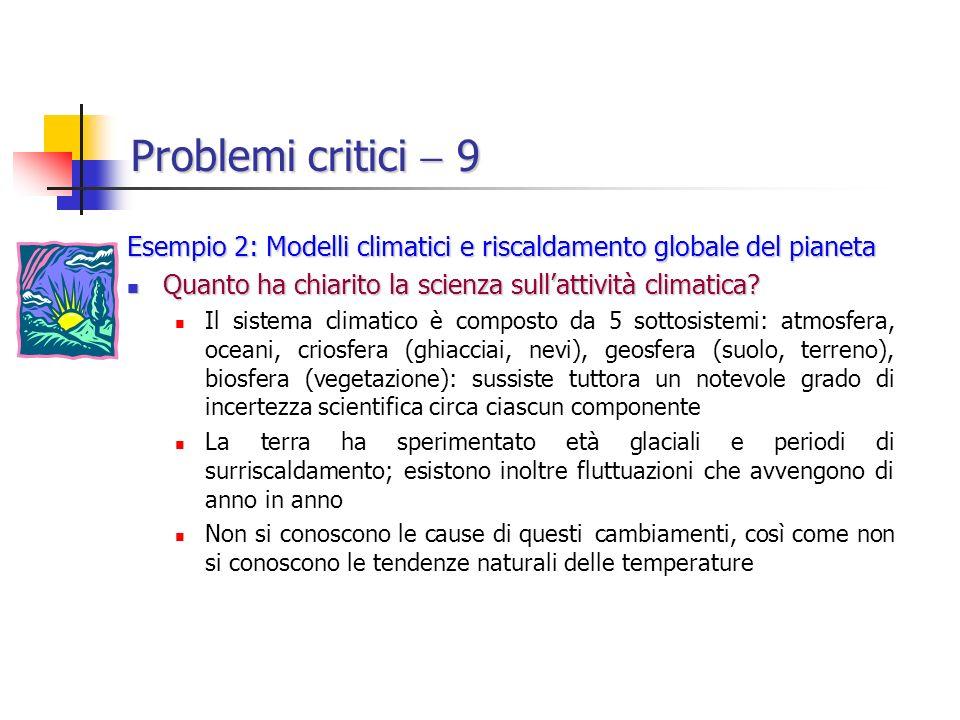 Problemi critici  9 Esempio 2: Modelli climatici e riscaldamento globale del pianeta. Quanto ha chiarito la scienza sull'attività climatica