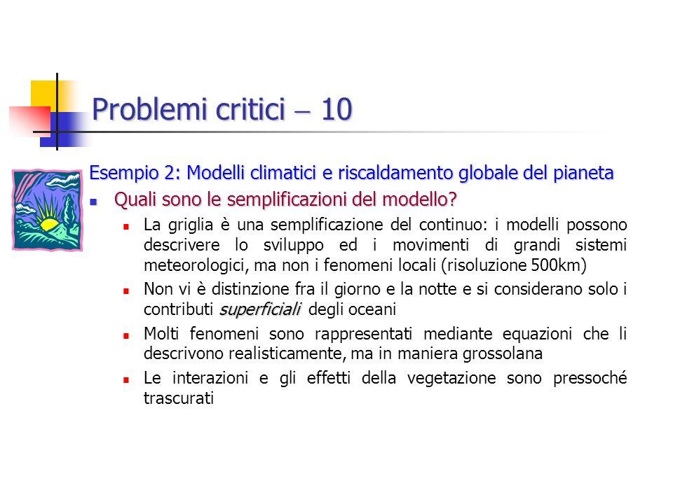 Problemi critici  10 Esempio 2: Modelli climatici e riscaldamento globale del pianeta. Quali sono le semplificazioni del modello