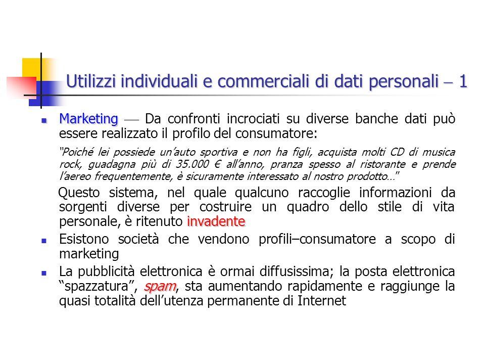 Utilizzi individuali e commerciali di dati personali  1