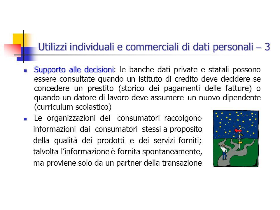 Utilizzi individuali e commerciali di dati personali  3