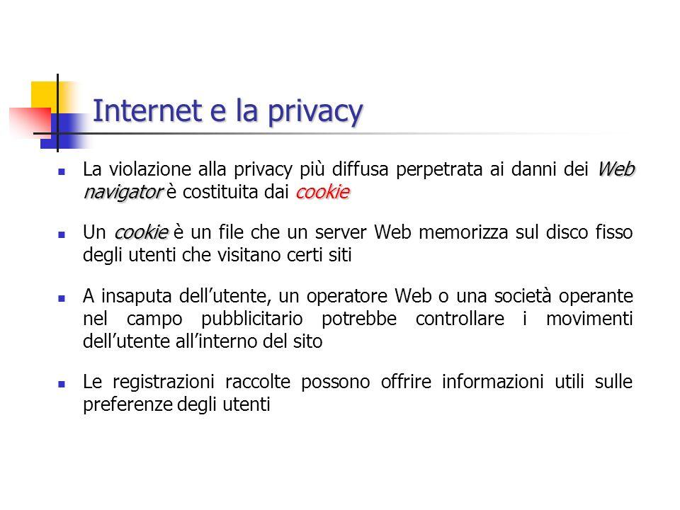 Internet e la privacy La violazione alla privacy più diffusa perpetrata ai danni dei Web navigator è costituita dai cookie.