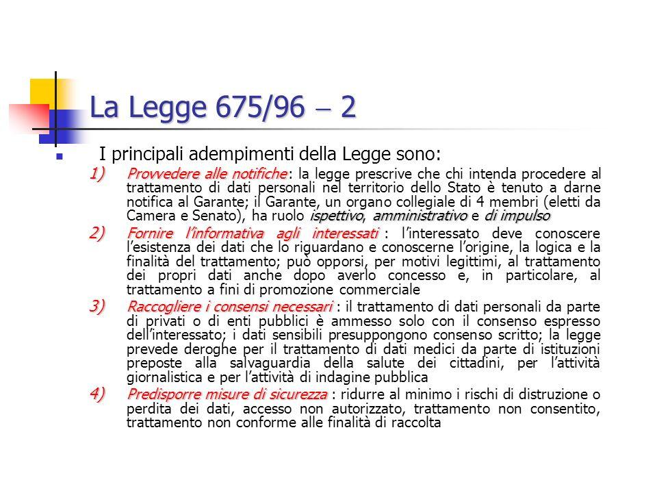 La Legge 675/96  2 I principali adempimenti della Legge sono: