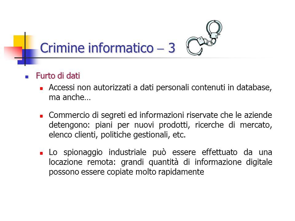 Crimine informatico  3 Furto di dati