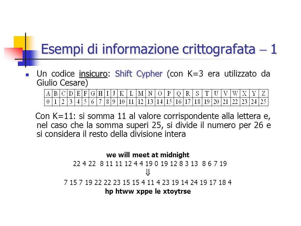 Esempi di informazione crittografata  1
