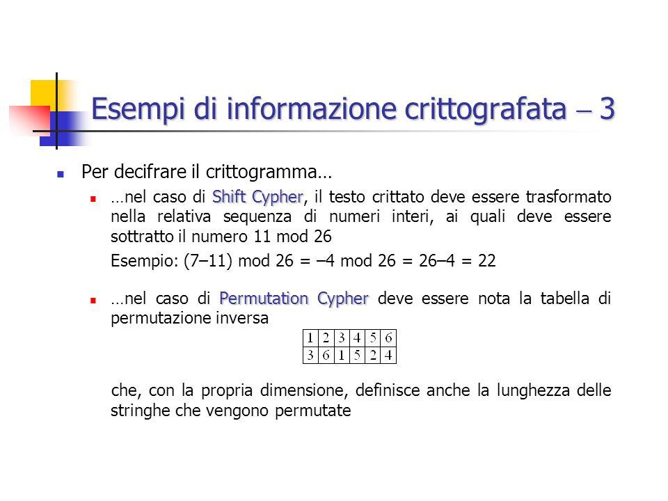 Esempi di informazione crittografata  3