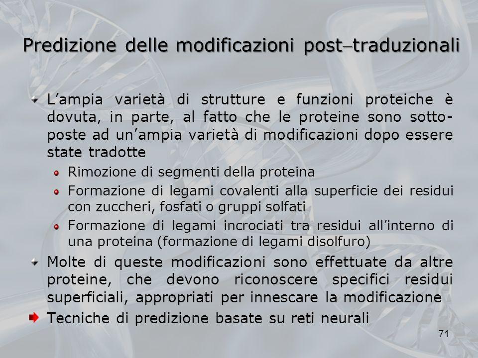 Predizione delle modificazioni posttraduzionali