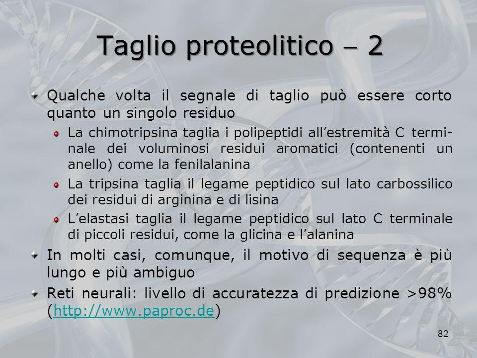 Taglio proteolitico  2 Qualche volta il segnale di taglio può essere corto quanto un singolo residuo.