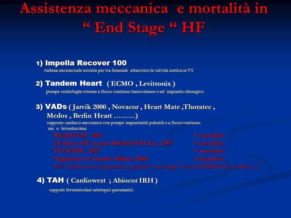 Assistenza meccanica e mortalità in End Stage HF