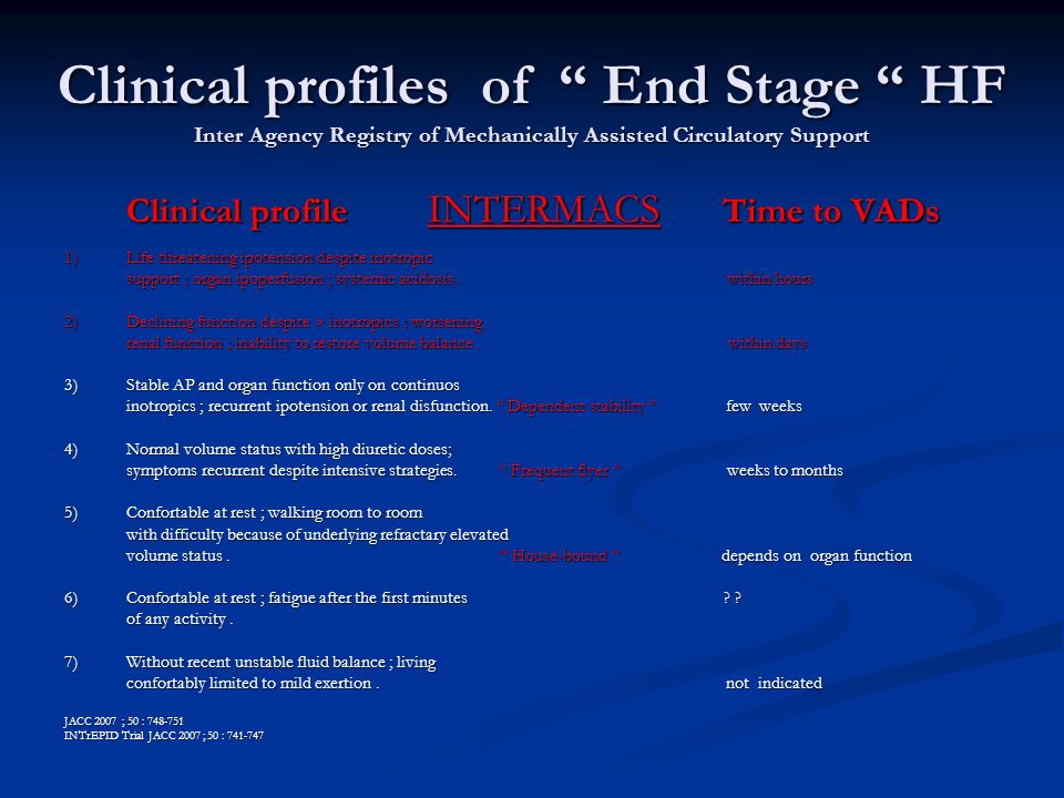 Clinical profiles of End Stage HF Inter Agency Registry of Mechanically Assisted Circulatory Support