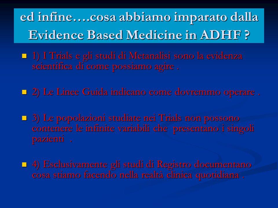 ed infine….cosa abbiamo imparato dalla Evidence Based Medicine in ADHF