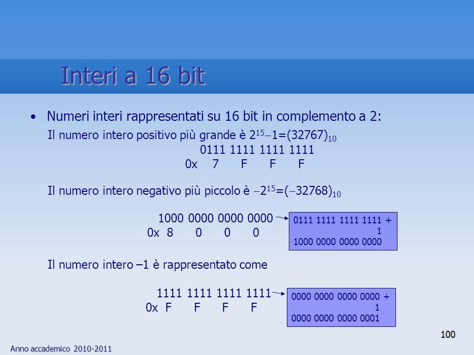 Interi a 16 bitNumeri interi rappresentati su 16 bit in complemento a 2: Il numero intero positivo più grande è 2151=(32767)10.