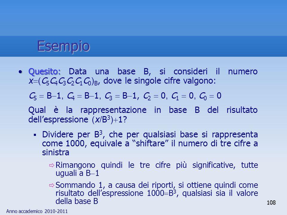 EsempioQuesito: Data una base B, si consideri il numero x(C5C4C3C2C1C0)B, dove le singole cifre valgono:
