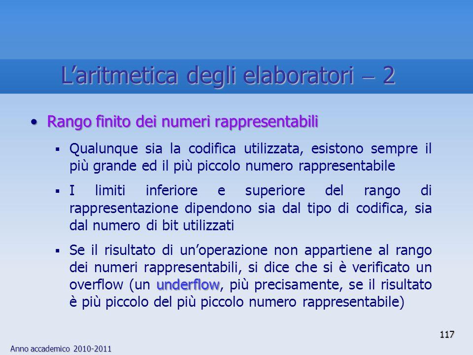 L'aritmetica degli elaboratori  2