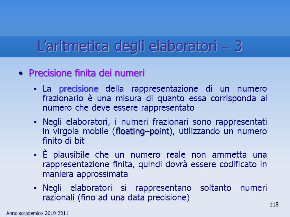 L'aritmetica degli elaboratori  3