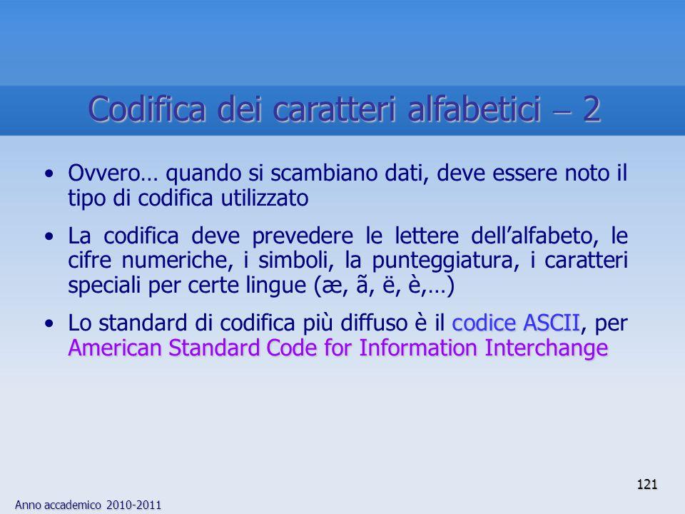 Codifica dei caratteri alfabetici  2