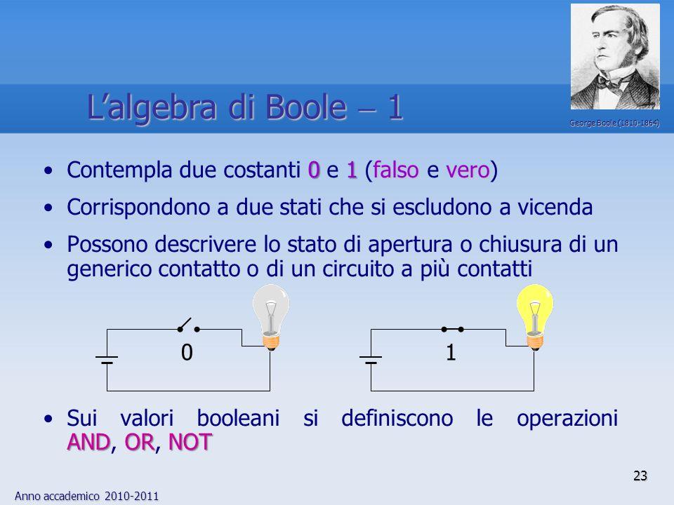 L'algebra di Boole  1 Contempla due costanti 0 e 1 (falso e vero)