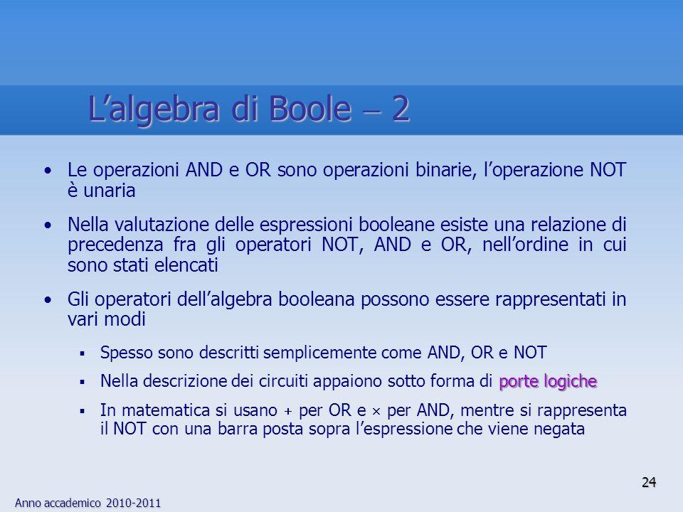 L'algebra di Boole  2 Le operazioni AND e OR sono operazioni binarie, l'operazione NOT è unaria.