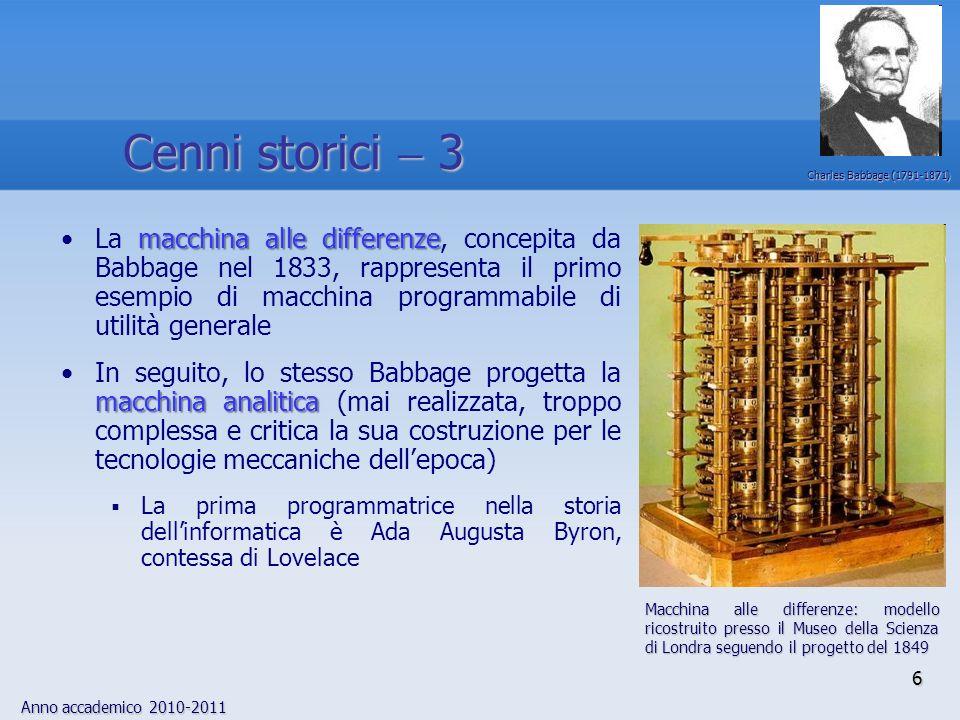 Cenni storici  3 Charles Babbage (1791-1871)
