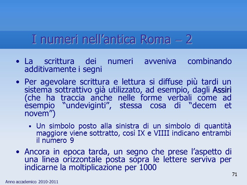 I numeri nell'antica Roma  2