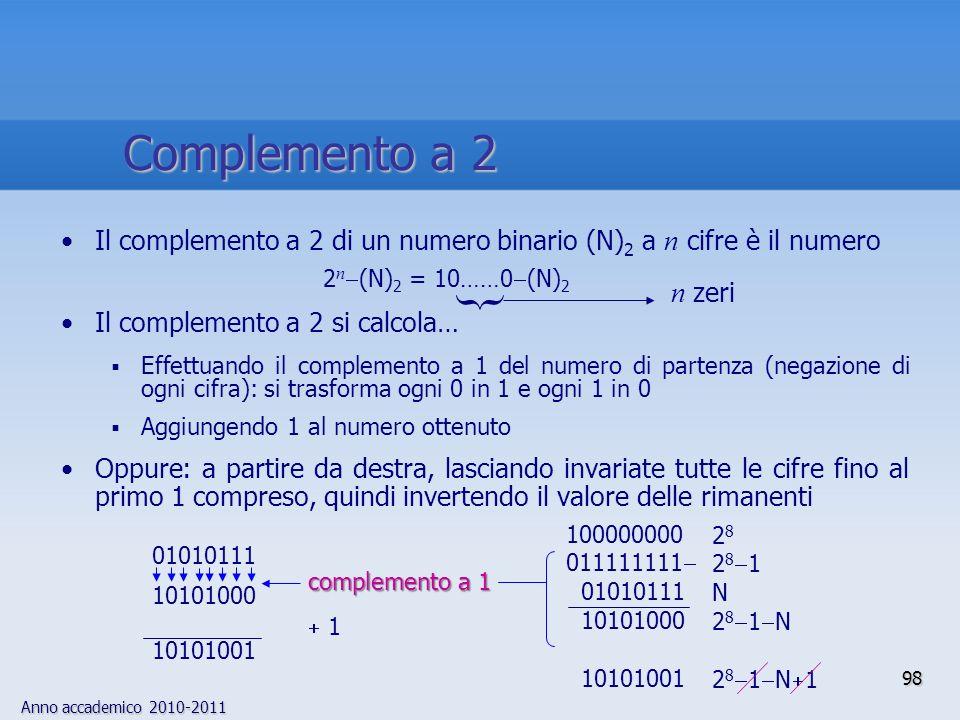 Complemento a 2Il complemento a 2 di un numero binario (N)2 a n cifre è il numero. Il complemento a 2 si calcola…