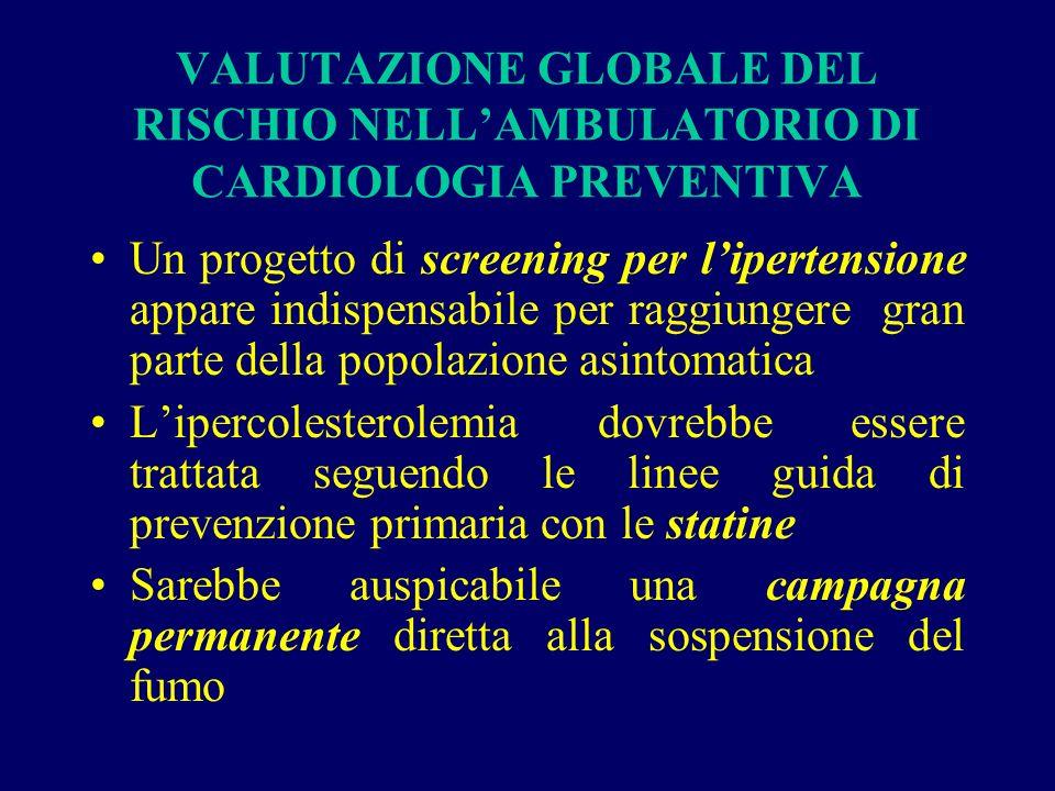 VALUTAZIONE GLOBALE DEL RISCHIO NELL'AMBULATORIO DI CARDIOLOGIA PREVENTIVA