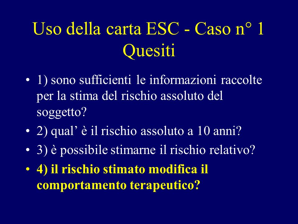 Uso della carta ESC - Caso n° 1 Quesiti