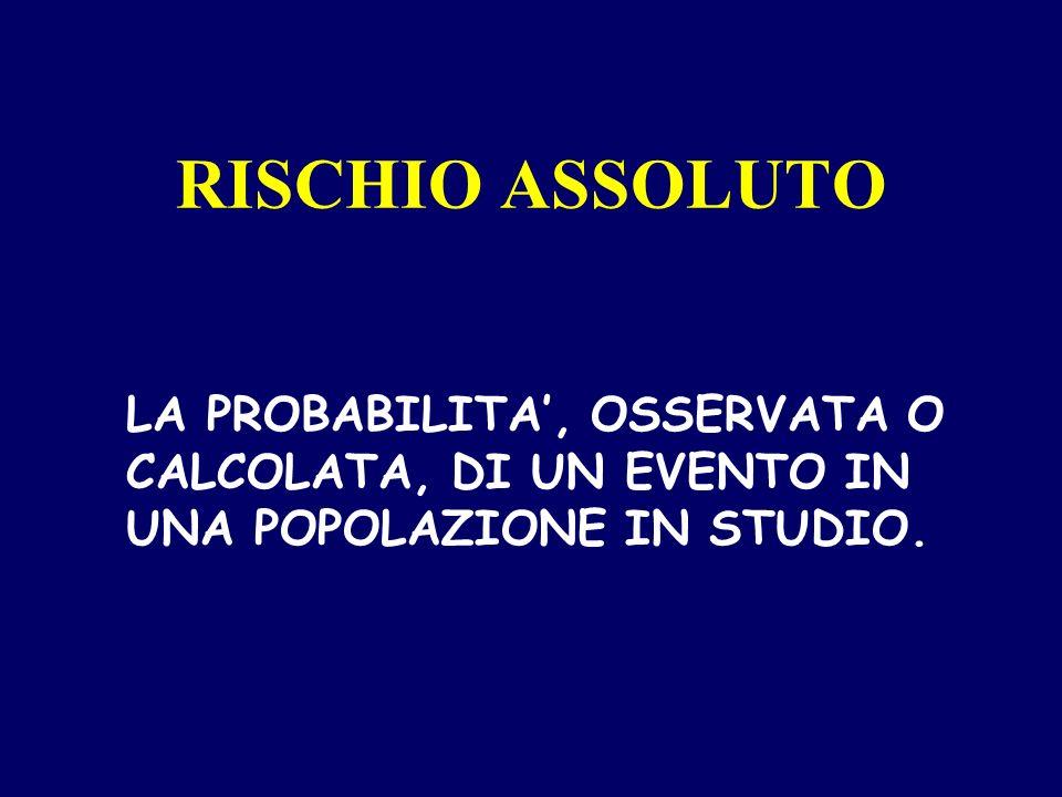 RISCHIO ASSOLUTO LA PROBABILITA', OSSERVATA O CALCOLATA, DI UN EVENTO IN UNA POPOLAZIONE IN STUDIO.