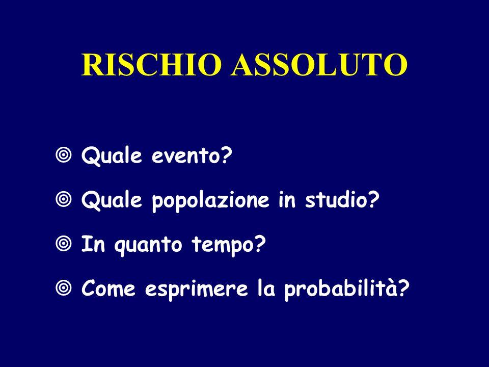 RISCHIO ASSOLUTO Quale evento Quale popolazione in studio