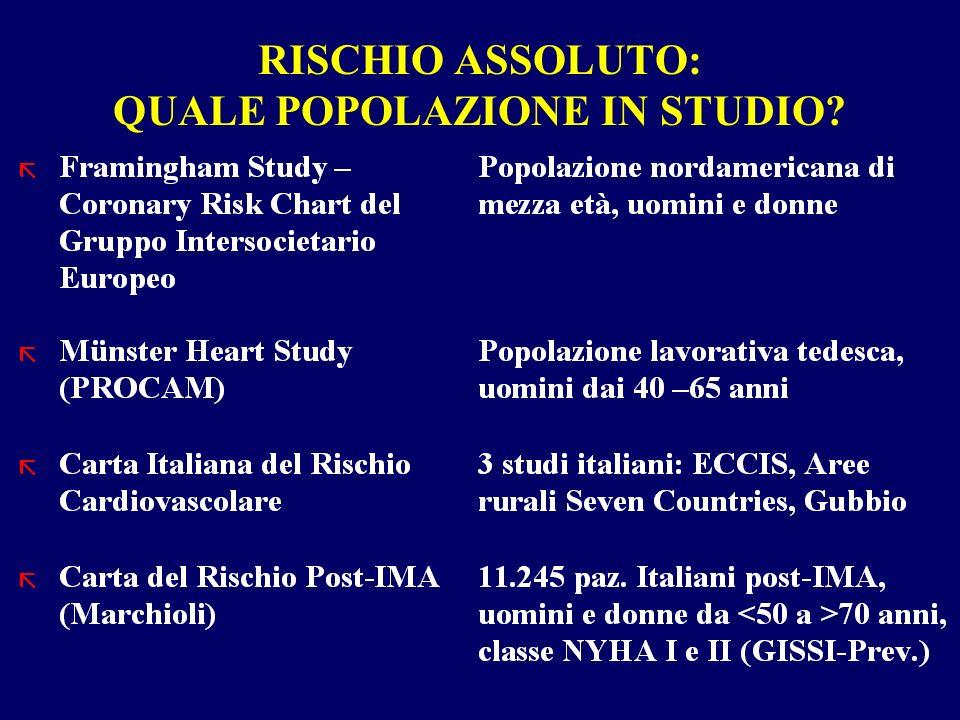 RISCHIO ASSOLUTO: QUALE POPOLAZIONE IN STUDIO