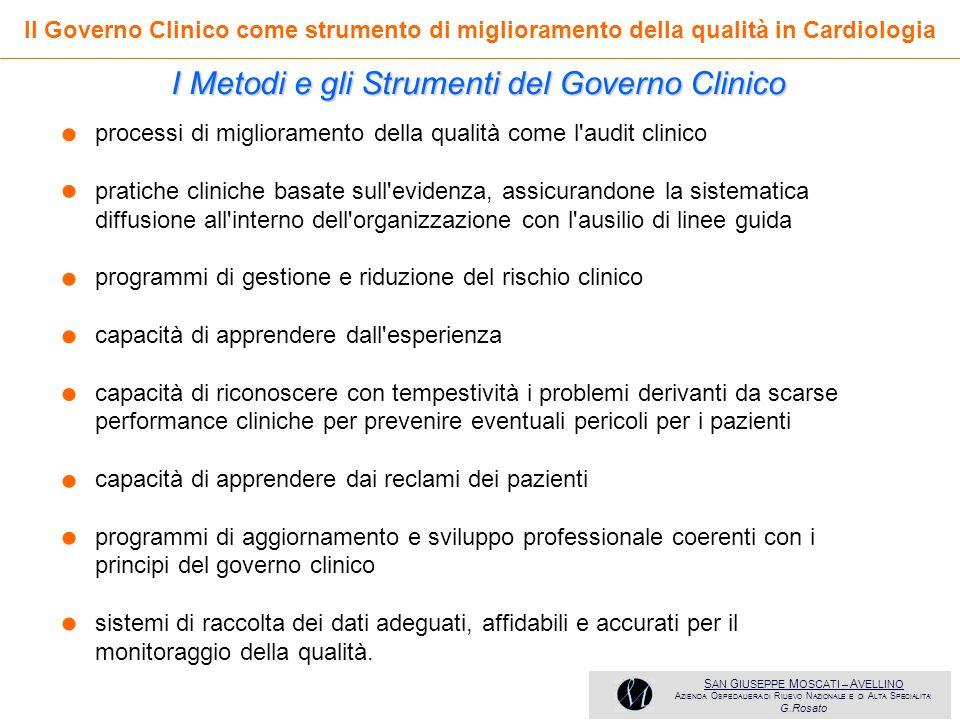 • • • • • • • • I Metodi e gli Strumenti del Governo Clinico