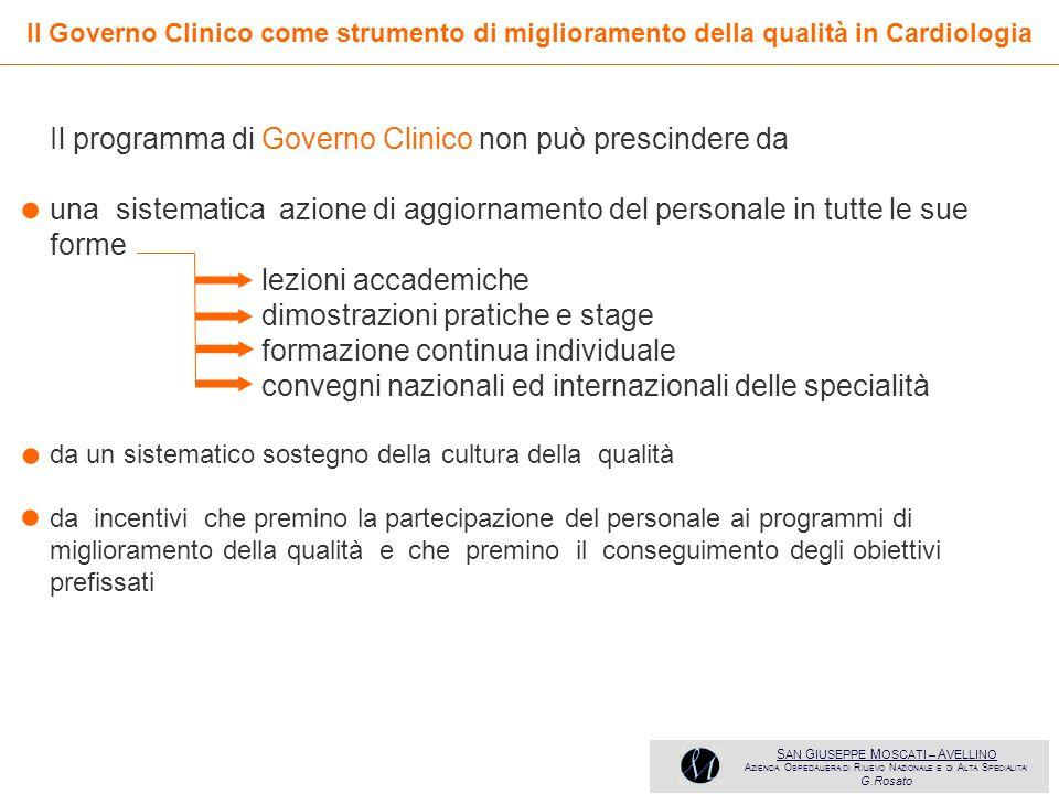 • • • Il programma di Governo Clinico non può prescindere da