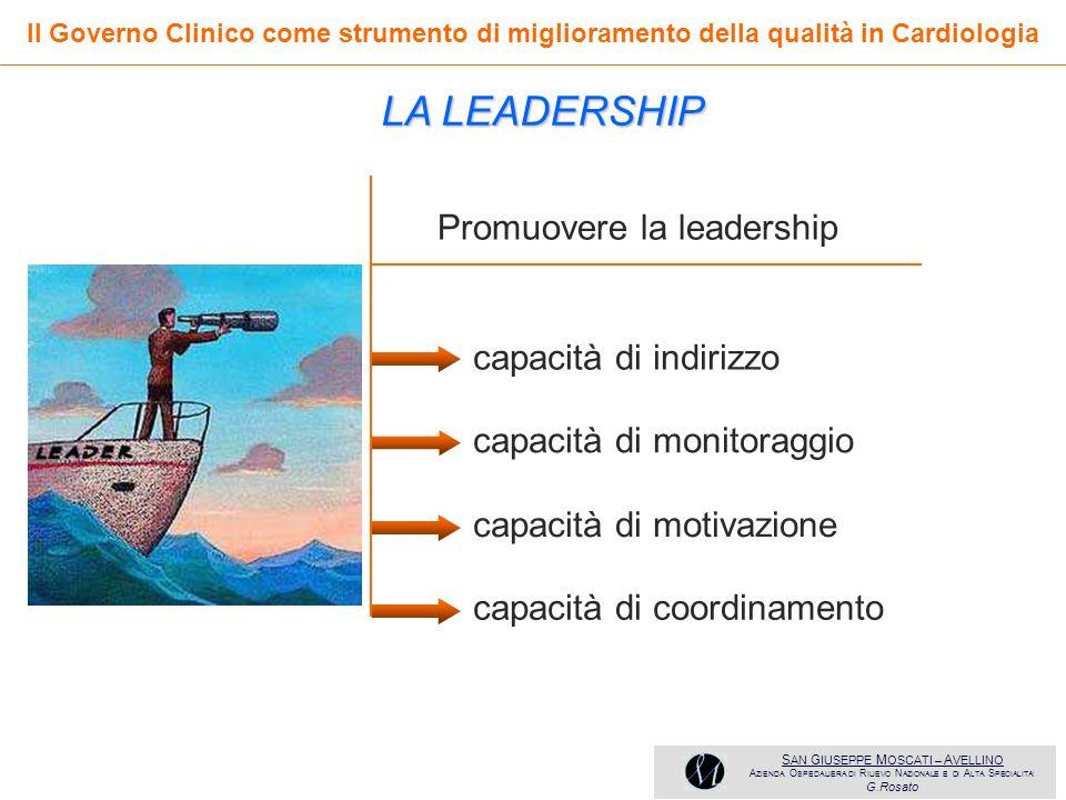 LA LEADERSHIP Promuovere la leadership capacità di indirizzo