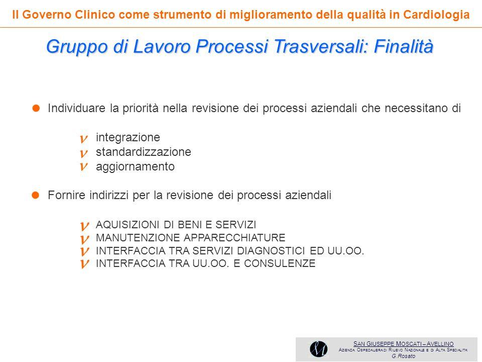 • • Gruppo di Lavoro Processi Trasversali: Finalità       