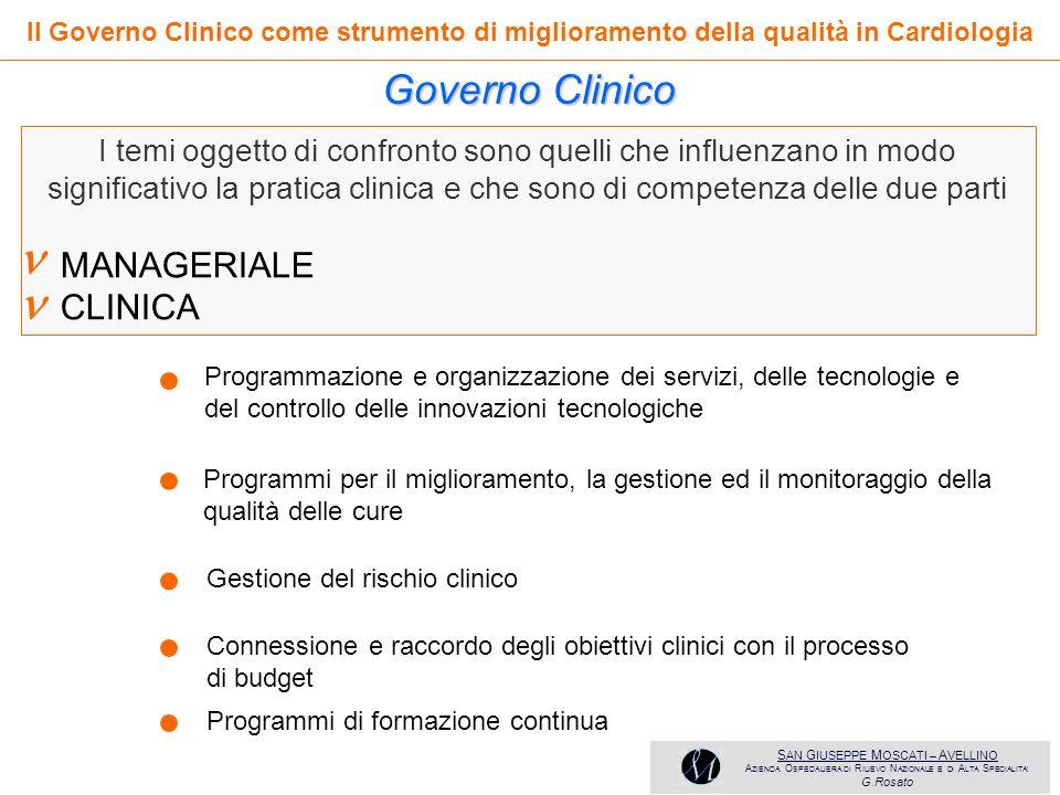   Governo Clinico ● ● ● ● ● MANAGERIALE CLINICA