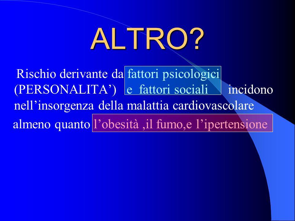 ALTRO Rischio derivante da fattori psicologici (PERSONALITA') e fattori sociali incidono nell'insorgenza della malattia cardiovascolare.