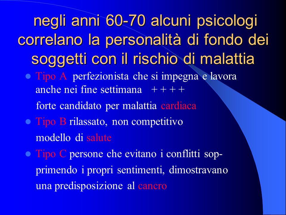 negli anni 60-70 alcuni psicologi correlano la personalità di fondo dei soggetti con il rischio di malattia