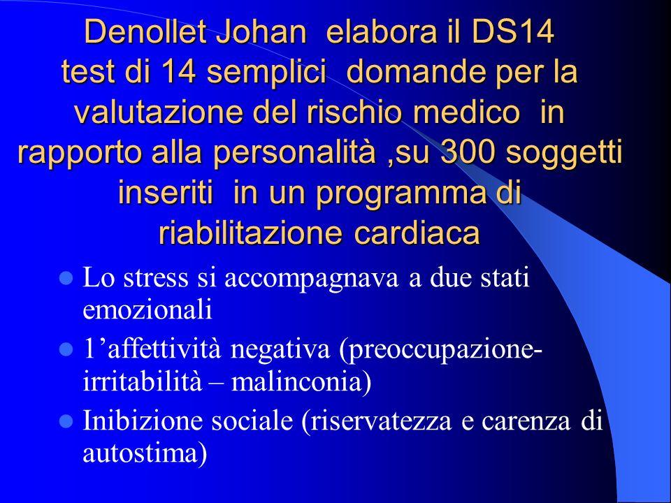 Denollet Johan elabora il DS14 test di 14 semplici domande per la valutazione del rischio medico in rapporto alla personalità ,su 300 soggetti inseriti in un programma di riabilitazione cardiaca