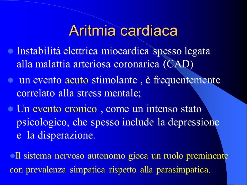Aritmia cardiaca Instabilità elettrica miocardica spesso legata alla malattia arteriosa coronarica (CAD)