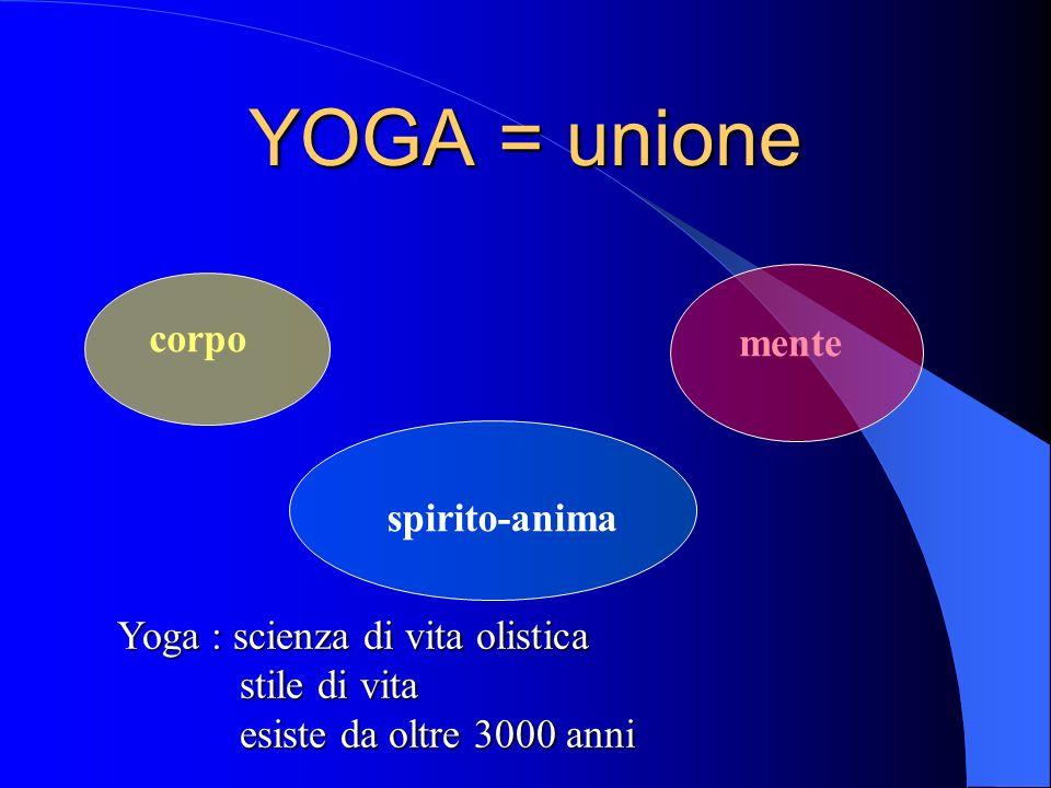 YOGA = unione corpo mente spirito-anima