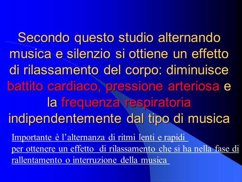 Secondo questo studio alternando musica e silenzio si ottiene un effetto di rilassamento del corpo: diminuisce battito cardiaco, pressione arteriosa e la frequenza respiratoria indipendentemente dal tipo di musica