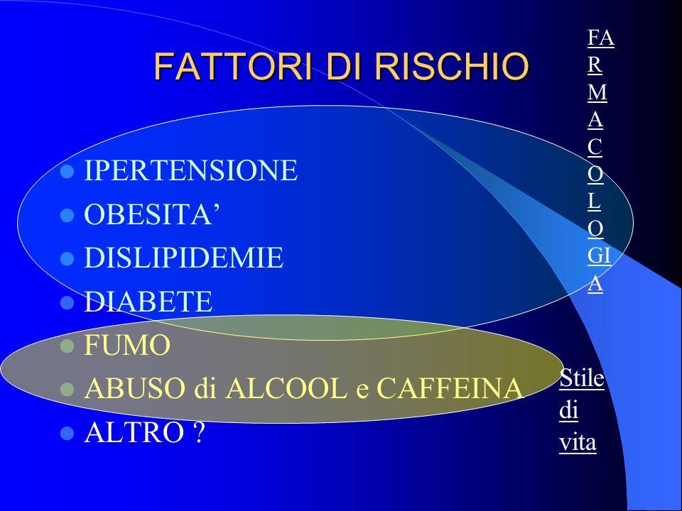 FATTORI DI RISCHIO IPERTENSIONE OBESITA' DISLIPIDEMIE DIABETE FUMO