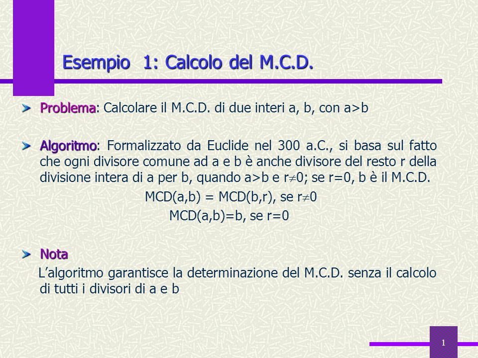 Esempio 1: Calcolo del M.C.D.