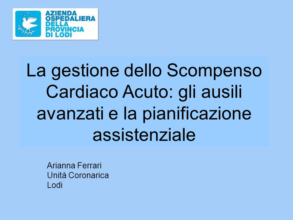 Arianna Ferrari Unità Coronarica Lodi